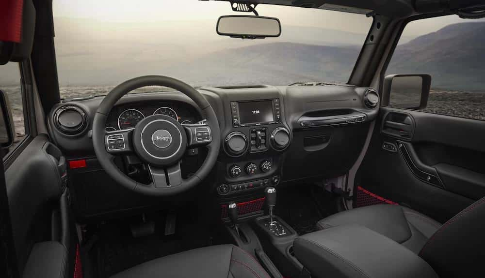 Interior of limited edition Rubicon Recon Jeep Wrangler