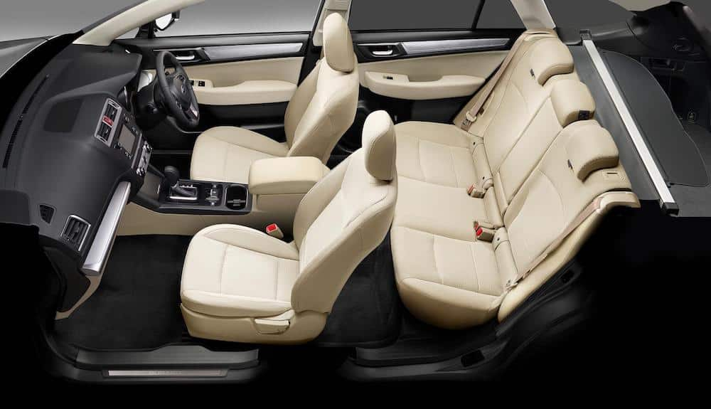 Interior of Black & Ivory Subaru Outback