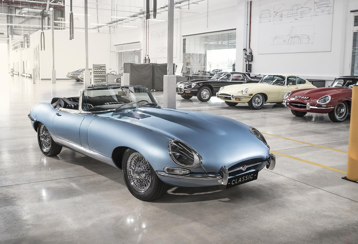 Electrically powered Jaguar E Type Zero mixes past and future