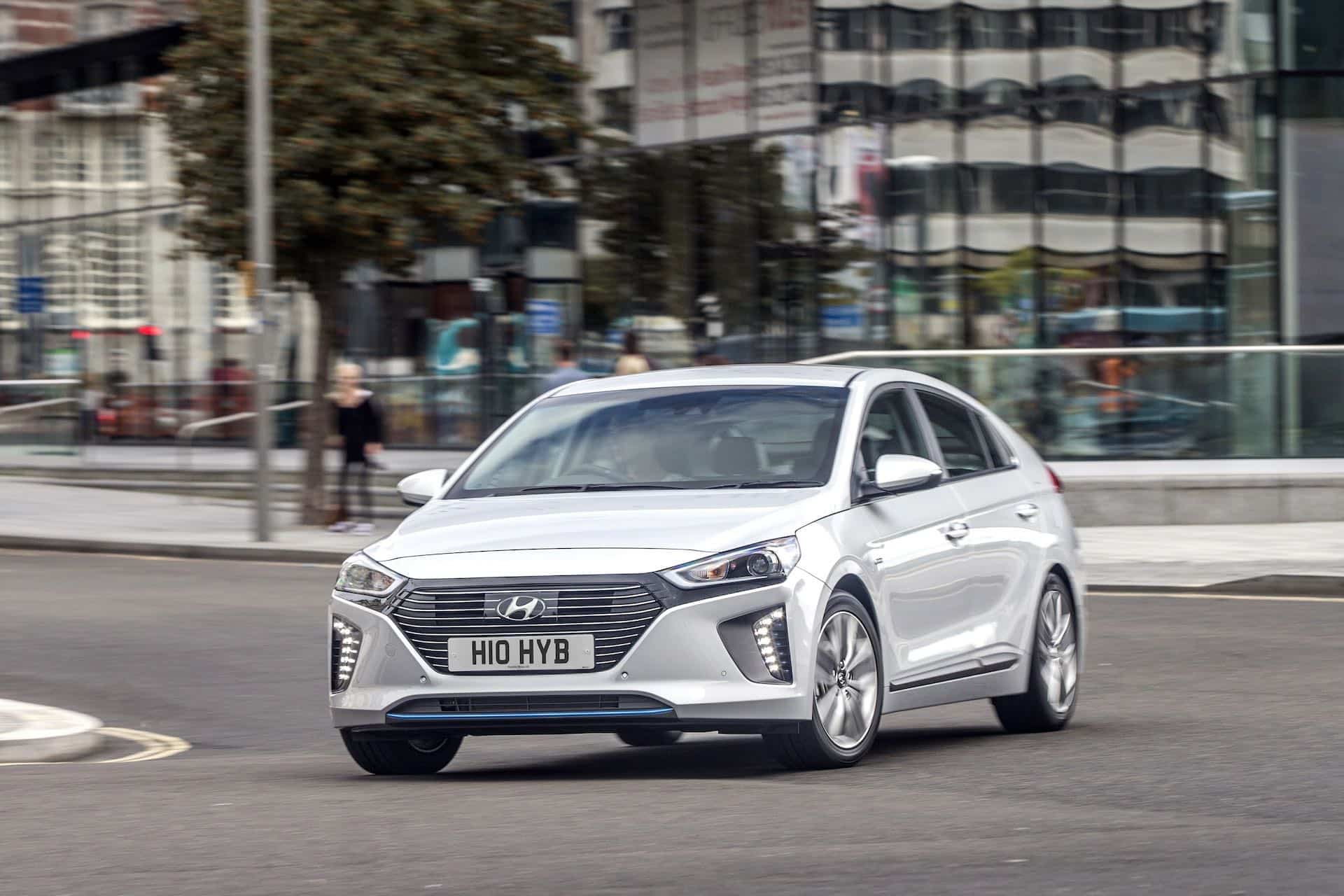 The Hyundai Ioniq is slightly larger and less radical in appearance than the Toyota Prius