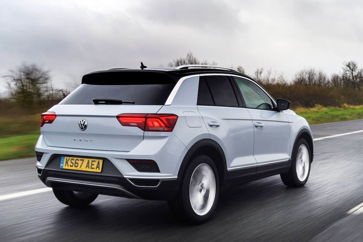 Volkswagen T-Roc on the road from the rear