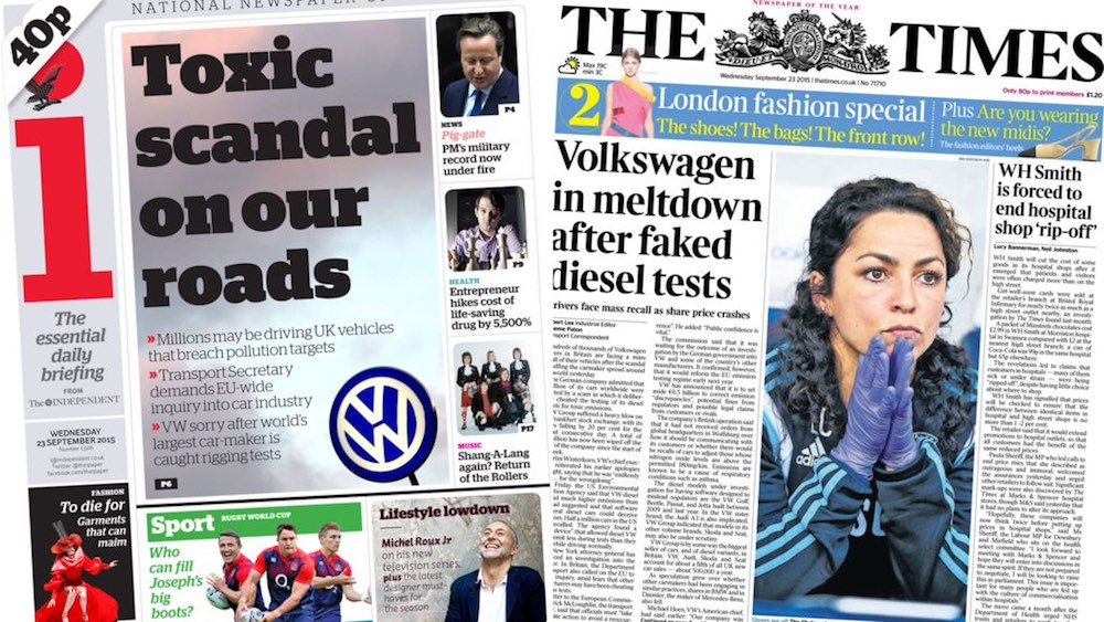 Volkswagen dieselgate headlines