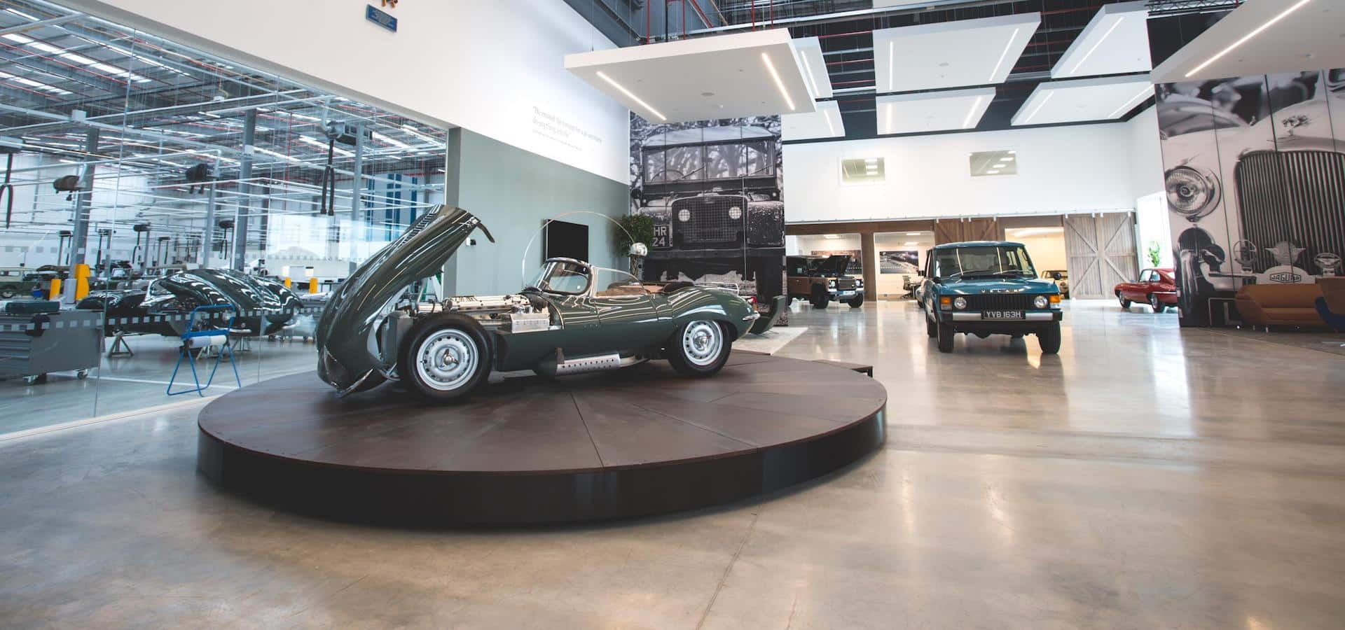 Foyer at Jaguar Land Rover Classic facility in Coventry