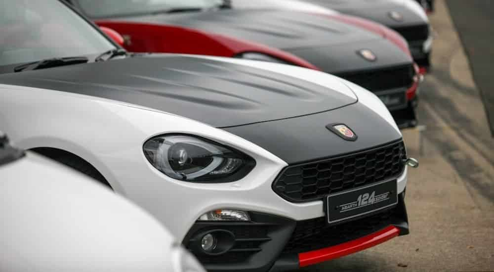 A cluster of Abarth 124 Spiders