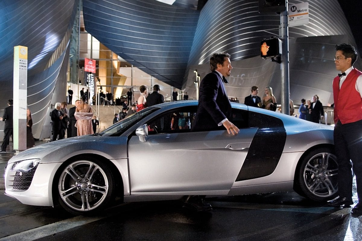 Audi R8 driven by Tony Stark in Iron Man