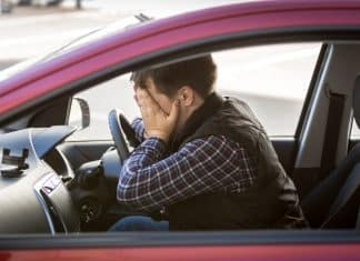 Driver asleep at the wheel