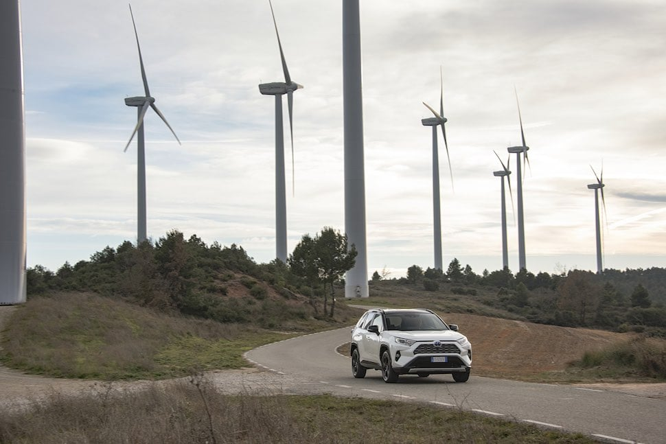 2019 Toyota RAV4 hybrid with wind turbines