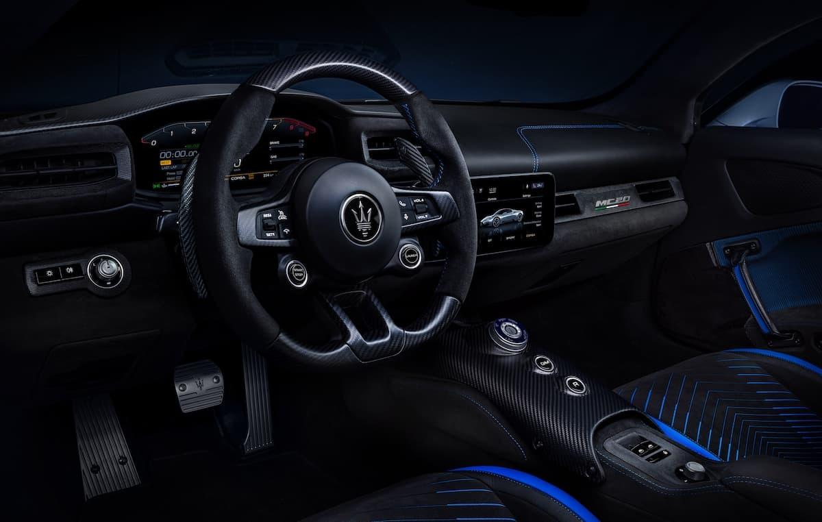 Maserati MC20 interior and dashboard