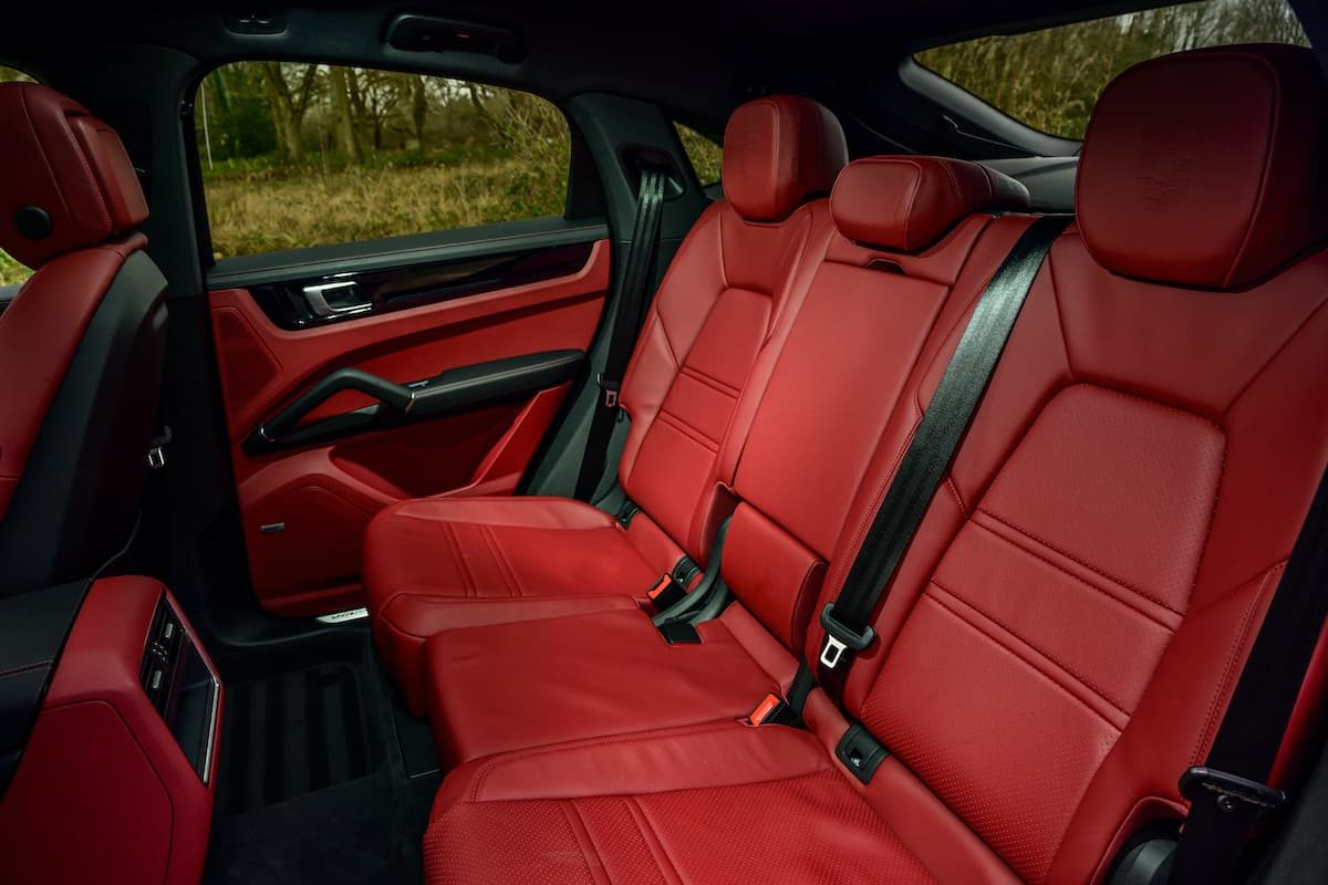 Porsche Cayenne Coupé E-Hybrid review – red leather rear seats