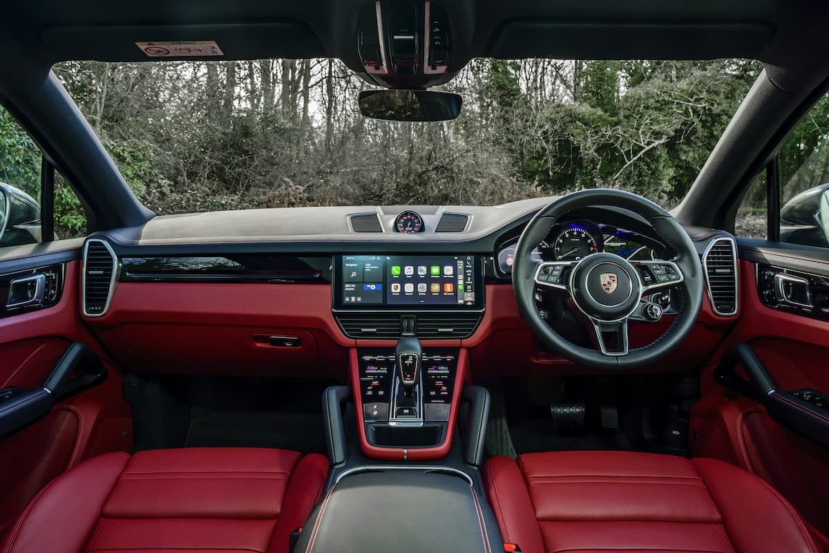 Porsche Cayenne Coupé E-Hybrid review – red leather interior and dashboard
