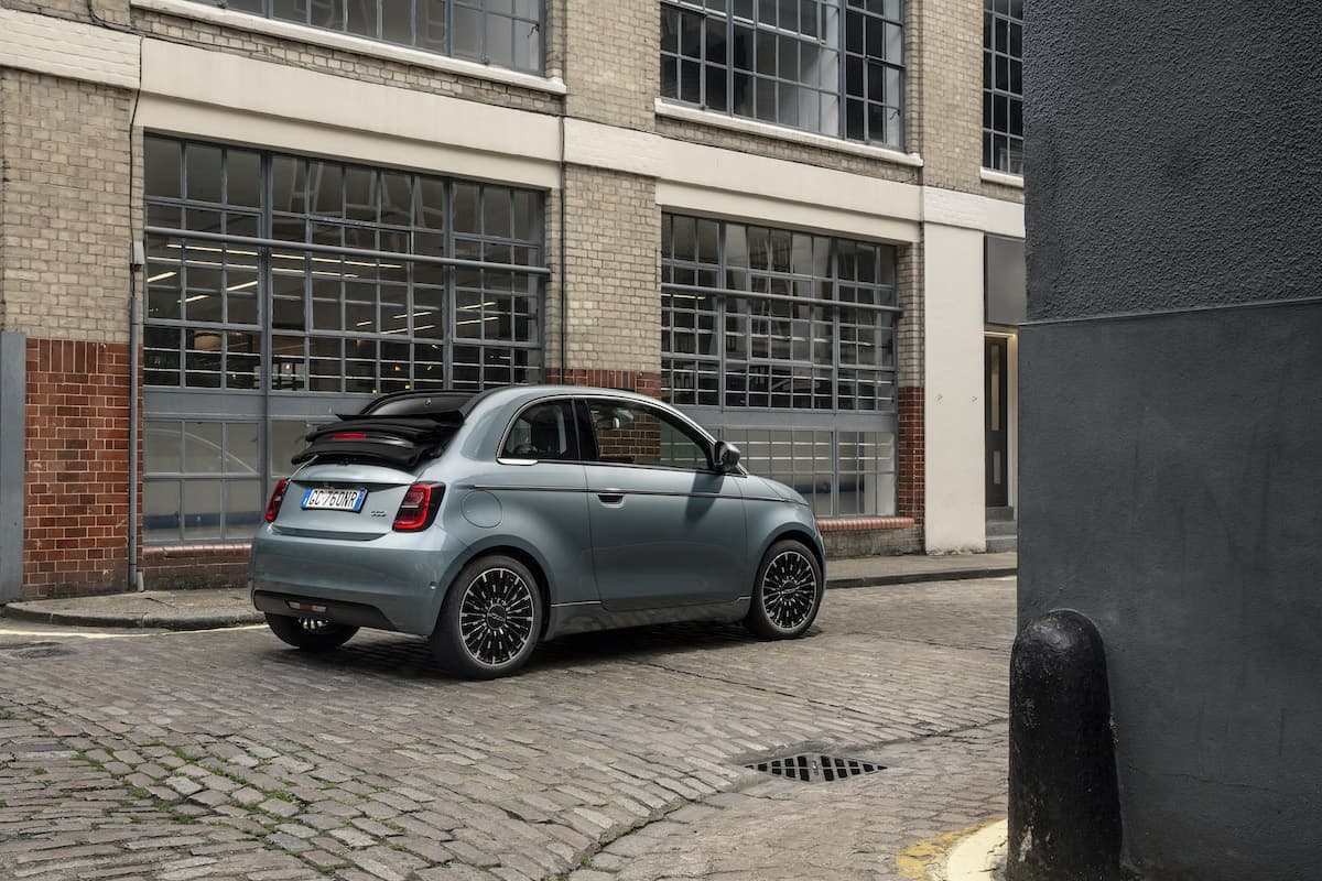Fiat 500 Cabrio (2021 onwards) - rear view, roof down