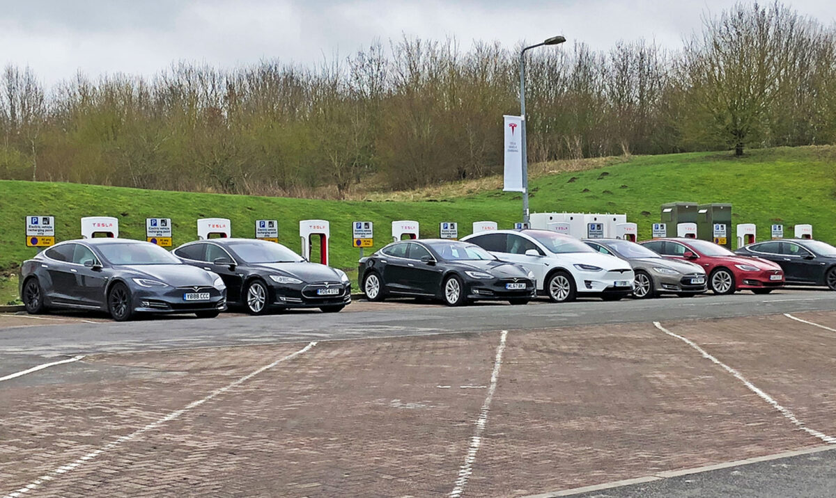 Tesla supercharger at services