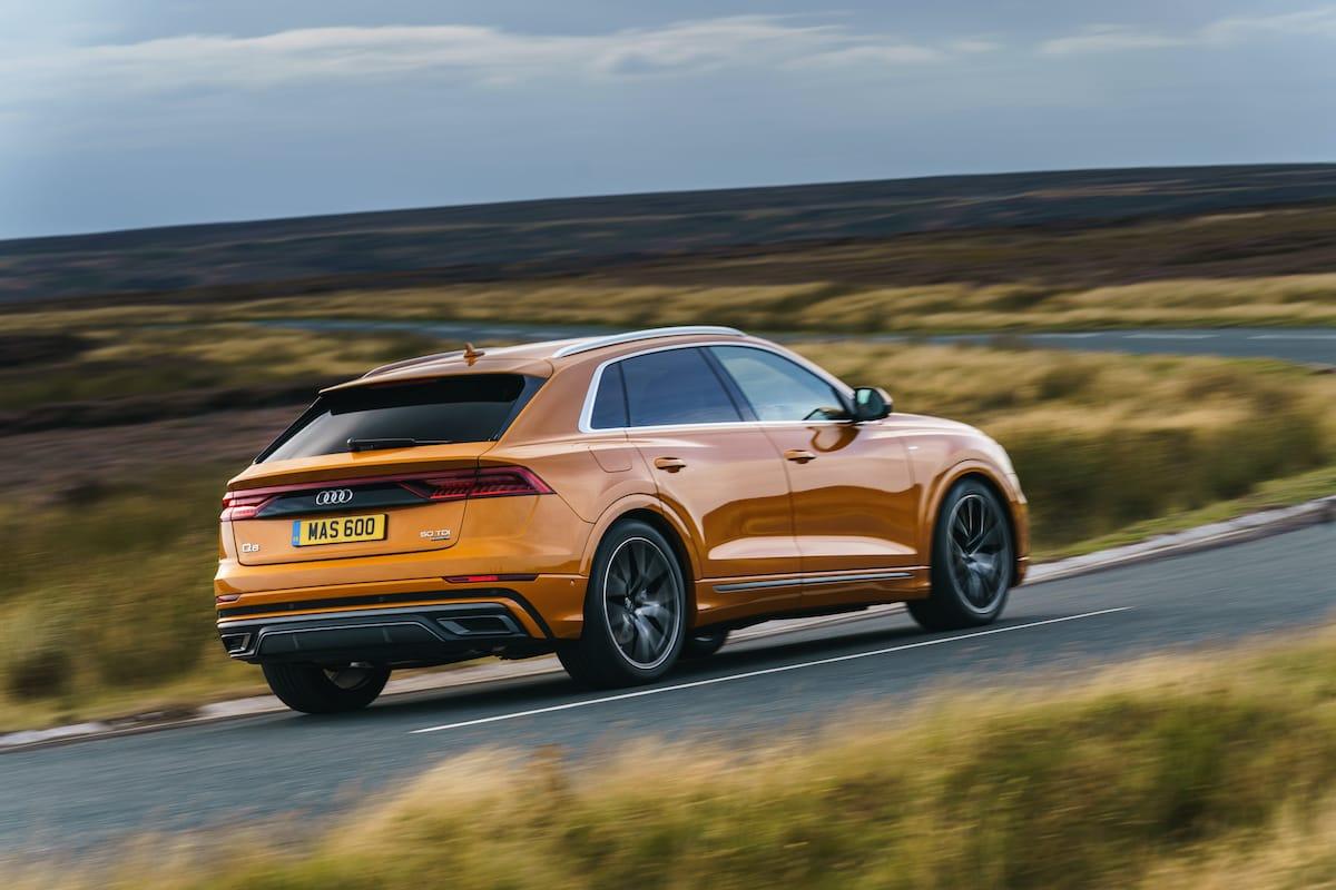 Audi Q8 orange (2018 onwards) – rear view