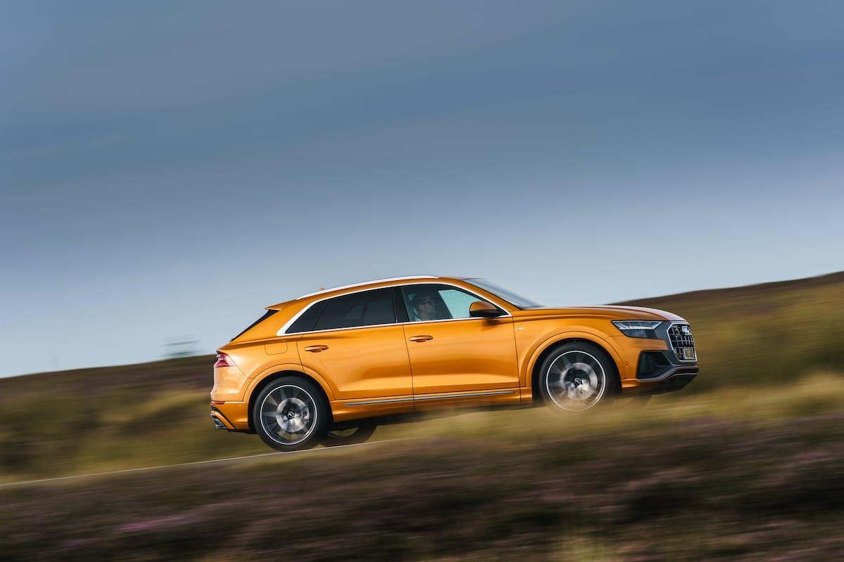Audi Q8 orange (2018 onwards) – side profile view